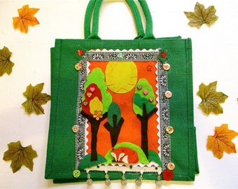 Holiday gifts,Fall wedding, Autumn,children's bags,shopping bag,ladies bag,jute shopper,beach bag,fox bag,green bag,woodland scene,cute bag