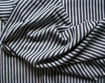 Wool Blend Fabric Stripe Navy Blue and White 4.375 yards