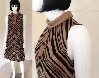 ON SALE MOD Tent Dress, R&K Originals Black Bronze Chevron Striped A-Line Shift, Mod Sleeveless Dress with Rolled Collar- size medium