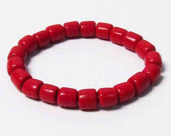 Bold Flame Red Coral Stretchy Bracelet
