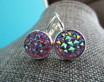 Lavender Kaleidoscope Sparkle Earrings . Leverbacks or Studs .