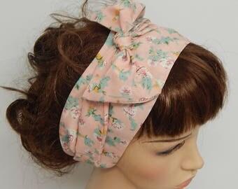 Women's head wrap, Boho headscarf, retro head wear, Bohemian hair scarf, rockabilly head scarf, floral bandanna, vintage style hair wrap