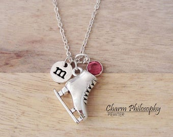 Ice Skate Necklace - Figure Skating Gifts - Monogram Personalized Initial and Birthstone - Silver Jewelry