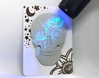 Original Inktober 'Divided' Cut Paper Skull UV Ink Artist's Trading Card