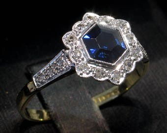 On Sale Now. SAVE! Darling 18kt EDWARDIAN c.1910 Sapphire & Diamond Engagement Ring