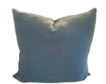 Sky Blue Velvet Pillow, Blue Pillow Cushion, Pastel Blue Pillow Cover, Velvet Sofa Pillow