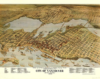Vancouver, British Columbia, Canada in 1898.  Vintage restoration hardware home Deco Style old wall reproduction map print.