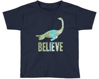 Kids Champ Believe Lake Monster Lake Champlain Map Kids Short Sleeve T-Shirt, Youth Lake Monster tee, Toddler Lake Monster shirt