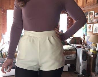 70s White High Waist Short Shorts XS