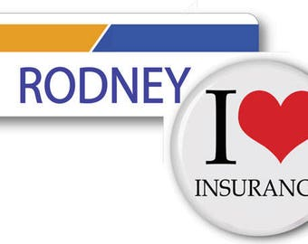 RODNEY From Progressive Insurance Halloween Costume Name Badge Tag pin Fastener & Button Ships ASAP FREE