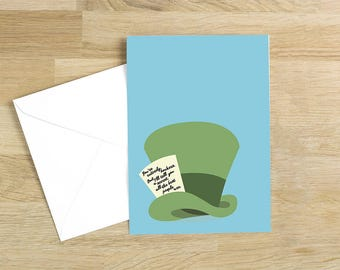 Alice in Wonderland - You're Entirely Bonkers Quote Minimal Greetings Card