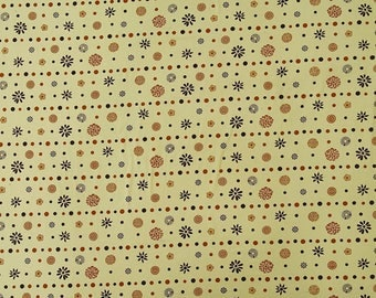 """Beige Fabric, Floral Print, Designer Fabric, Quilt Material, Dress Fabric, 46"""" Inch Cotton Fabric By The Yard ZBC9256A"""