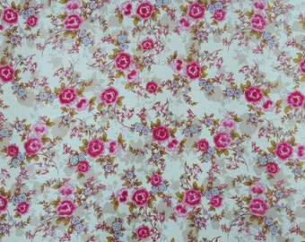 "Quit Material, White Fabric, Floral Print Fabric, Sewing Accessories, 42"" Inch Cotton Fabric By The Yard ZBC9304A"