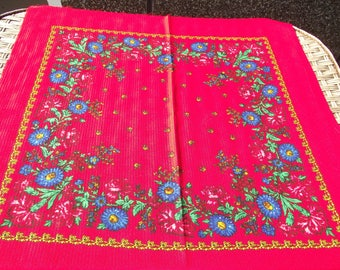 Beautiful russian scarf Floral Shawl Vintage Ukrainian Romanian scarf old shawl Soviet Red Shawl romanian style women