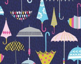 Navy Umbrella Fabric, Dashwood Studios, Rain or Shine, 100% Cotton, UK Sales Only
