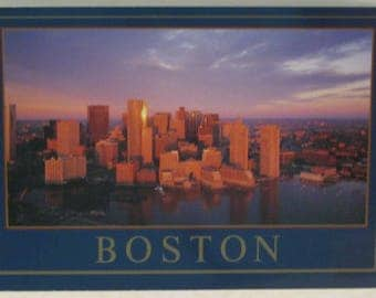 Boston Skyline from Harbor Postcard