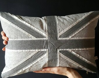 Hand-dyed Union Jack pillow | Grey