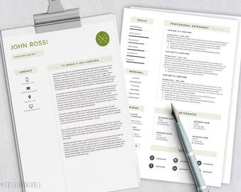 Clear Resume Template - CV Template (2 pages) + Cover Letter - .docx and .psd format | Instant Download