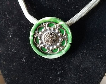 Swirled Green and Silver Polymer Clay Necklace