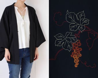 black embroidered Haori, Japanese kimono, black kimono top, Japanese embroidery, Japanese fashion, black jacket, Haori /2005