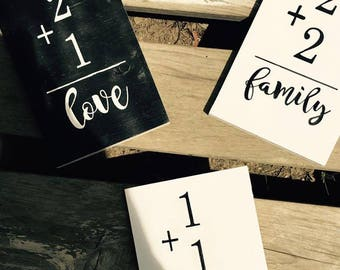 Family Flashcards Addition Sign - Wood Sign Family Addition Sign