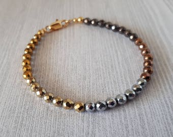 Mixed Metals: Hematite Bracelet in Shades of Gold, Silver, Copper and Bronze
