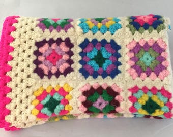 Multi Colored Pink Trimmed Lap Afghan/Throw