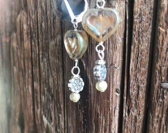 Earrings, sterling earrings, drop earrings, dangle earrings, heart earrings, glass earrings