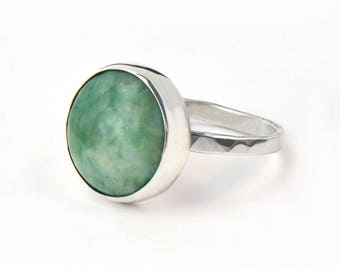 Green Gemstone Ring Zing Jiang Jade - Sterling Silver Boho Ring For Women - Statement Ring Minimalist Ring Gift for Her