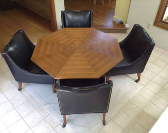Vintage Mid Century Modern Game Table and Chairs, Dining Set, Danish Modern Table And Chairs, Table and Chairs