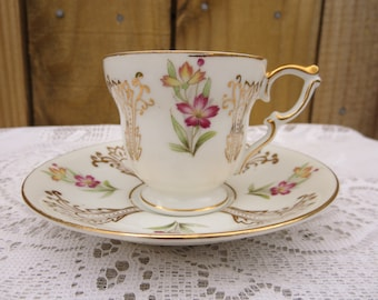 Vintage Tea Cup and Saucer, Made in Japan, Floral Tea Cup and Saucer, Purple and Gold Tea Cup and Saucer, Porcelain Tea Cup and Saucer