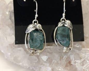 Neon Blue Apatite  Charm Earrings