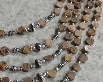 Five Strand Picture Jasper Necklace