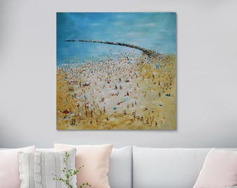 """Large Original Oil Painting On Canvas, 'The Beach', Huge Abstract Painting, Size: 39"""" X 39"""" Inches (100 cm x 100 cm)"""