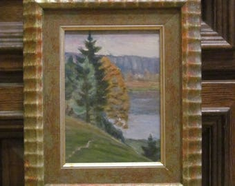 1975 Autumn on the river. Plein air. Oil Painting. Landscape.Original