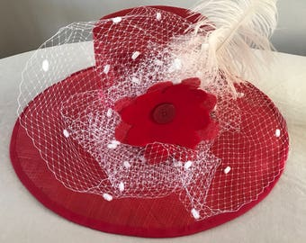 Handmade Red Sinamay Hat With Veilling