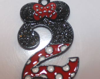 Minnie Mouse Rhinestone pendant Number 2 Inspired