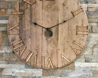 Wall clock - large clock - rustic clock - unique clock - 5th anniversary - barrel clock - whisky clock - whisky gift