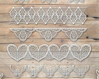 50% OFF Lace Clipart - Bridal Wedding Download - Instant Download - Repeatable White Lace Pattern Supplies