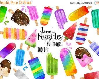 50% OFF Watercolor Popsicles Clipart - Dessert Download - Instant Download - Summer Treats - Ice Cream