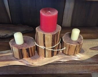 Cedar candle holder