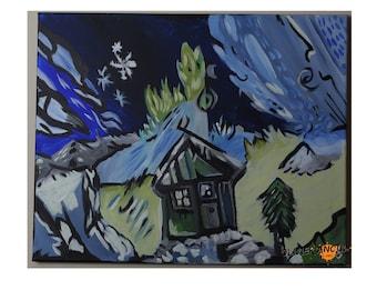 Painting acrylic winter storm