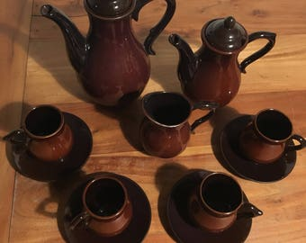 Vintage Brown Teaset Coffee Set