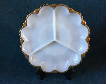 Vintage Anchor Hocking Fire King Milk Glass 3 Part Relish Dish wiith 22k Gold Trim