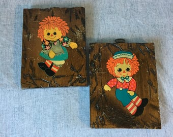 Vintage Raggedy Ann and Andy Wooden Wall Plaques