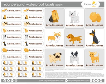Dogs - puppies - Your personal waterproof labels (68 Qty) Free Shipping