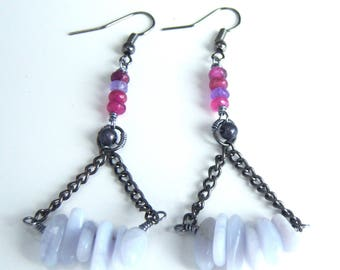 Earrings blue purple chalcedony and pink agate bead