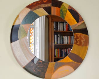 Large round contemporary wall mirror