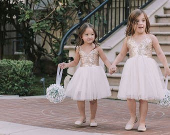 Gold Cream Tulle Flower Girl Dress Sash Belt set, Gold sequin dress, Gold Ivory Cream Wedding, Ball Gown, Gold glitter, Ivory tutu dress