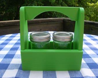 Jelly Jar Wood Caddy - Mason Jar Holder - Green - Gift Caddy, Centerpiece